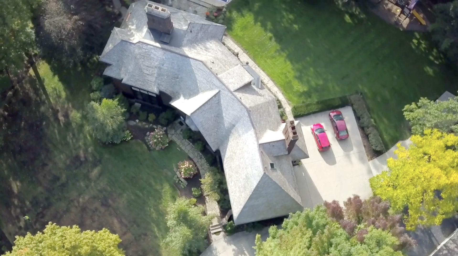 drone roofing footage